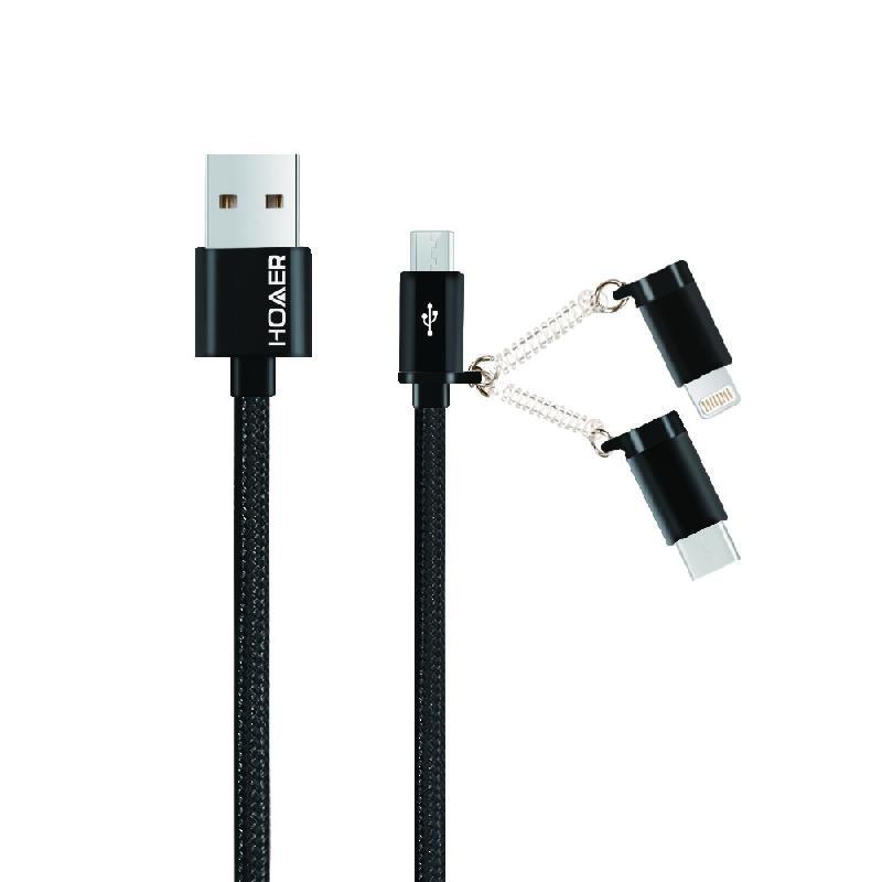 Câble nylon 3 EN 1 (Lightning, Type-C, Micro-USB) Vers UBS Noir